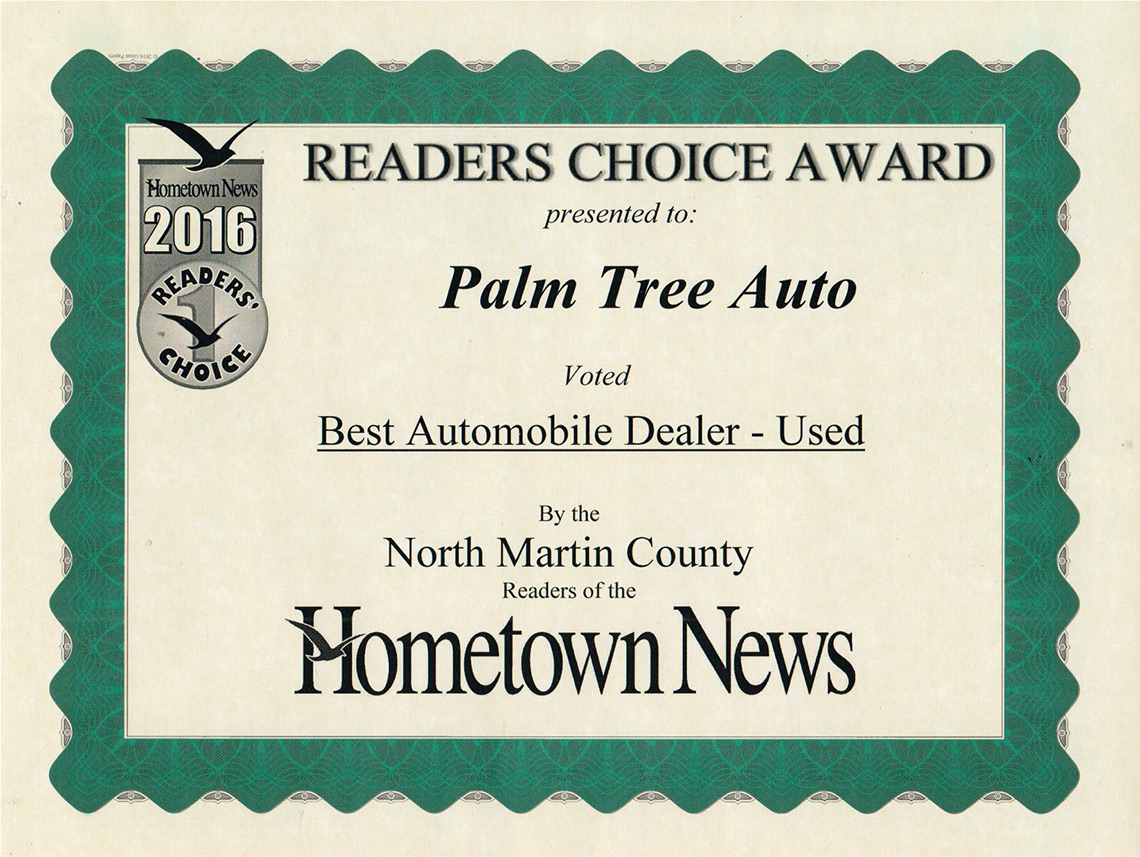 Readers Choice Award, Best Automobile Dealer 2016