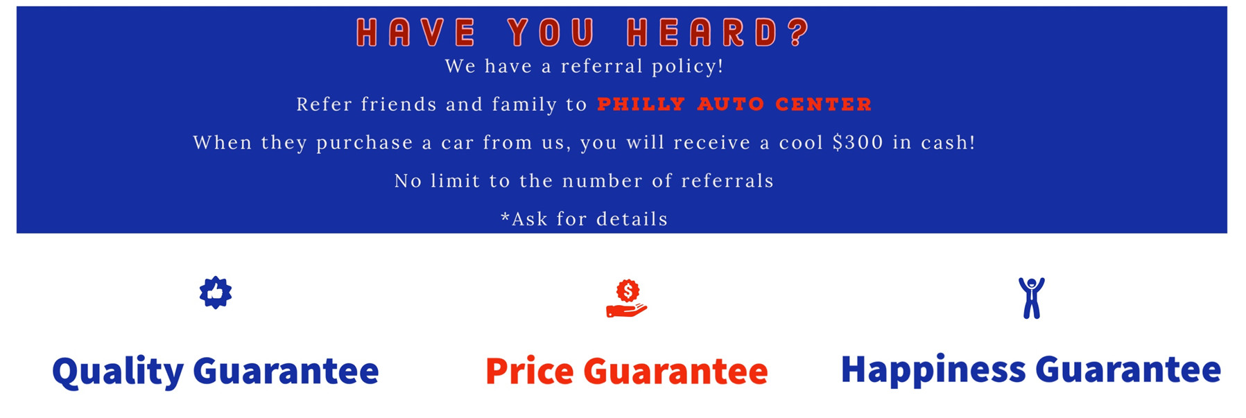Philly Auto Center Referral Policy for used car purchases