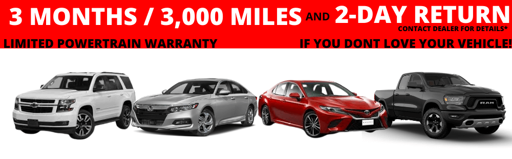 All of our used cars come with a limited 3 month's or 3000 miles Limited  Powertrain Warranty