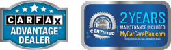 carfax and my car care plan badges
