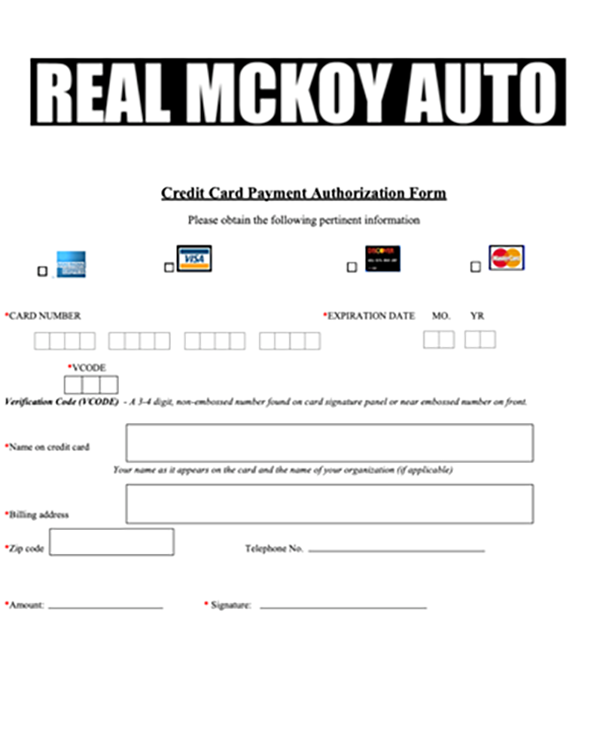 Credit Card Payment Form - Real McKoy Auto: Used Car Dealerships in Philadelphia