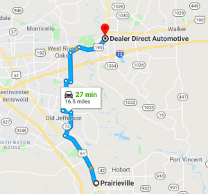 Directions from Prairieville, La to Dealer Direct Automotive