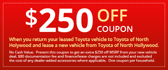 NHT north hollywood toyota $250 off coupon