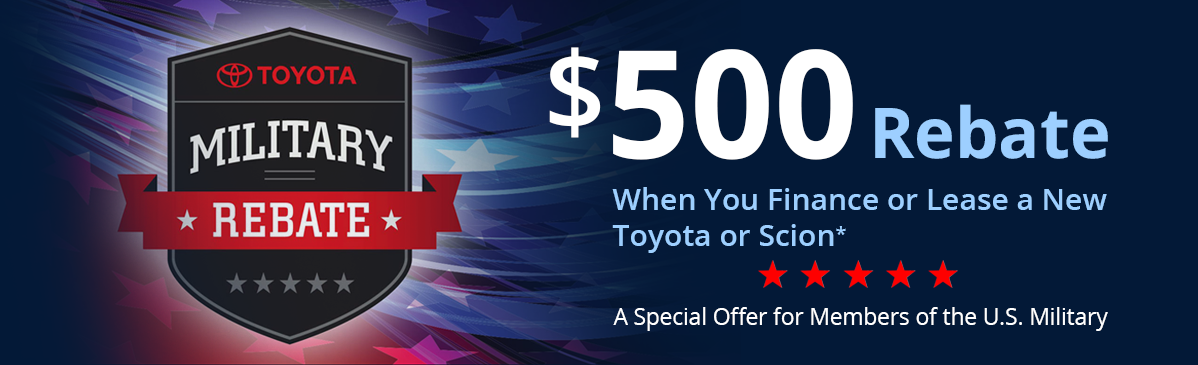 NHT Toyota $500 Military Rebate