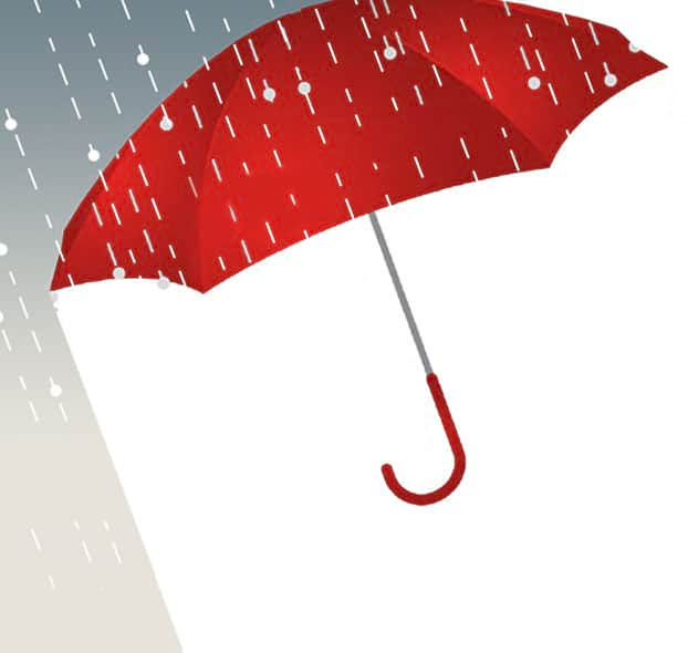 NHT rain drops falling on a red umbrella